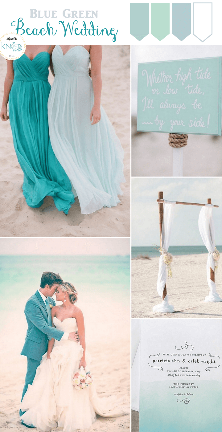 Blue green beach wedding inspiration bridalpulse for Green beach wedding dresses