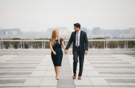 Washington DC Skyline Wedding Engagement Session: Robin + Sandeep